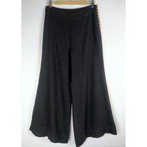 Free people black pants wide leg side buttons S
